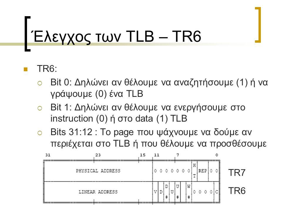 Έλεγχος των TLB – TR6 TR6:  Bit 0: Δηλώνει αν θέλουμε να αναζητήσουμε (1) ή να γράψουμε (0) ένα TLB  Bit 1: Δηλώνει αν θέλουμε να ενεργήσουμε στο in