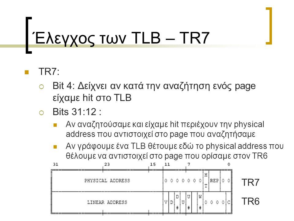 Έλεγχος των TLB – TR7 TR7:  Bit 4: Δείχνει αν κατά την αναζήτηση ενός page είχαμε hit στο TLB  Bits 31:12 : Αν αναζητούσαμε και είχαμε hit περιέχουν