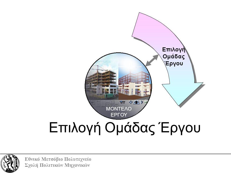 Εθνικό Μετσόβιο Πολυτεχνείο Σχολή Πολιτικών Μηχανικών ΜΟΝΤΕΛΟ ΕΡΓΟΥ Επιλογή Ομάδας Έργου