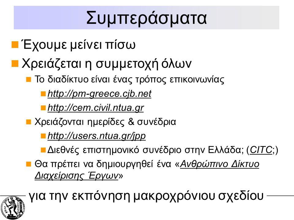 Εθνικό Μετσόβιο Πολυτεχνείο Σχολή Πολιτικών Μηχανικών Έχουμε μείνει πίσω Χρειάζεται η συμμετοχή όλων Το διαδίκτυο είναι ένας τρόπος επικοινωνίας http://pm-greece.cjb.net http://cem.civil.ntua.gr Χρειάζονται ημερίδες & συνέδρια http://users.ntua.gr/jpp Διεθνές επιστημονικό συνέδριο στην Ελλάδα; (CITC;) Θα πρέπει να δημιουργηθεί ένα «Ανθρώπινο Δίκτυο Διαχείρισης Έργων» Συμπεράσματα για την εκπόνηση μακροχρόνιου σχεδίου