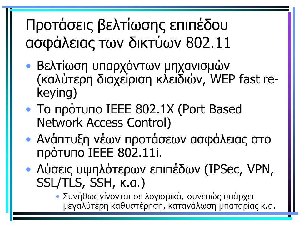 Προτάσεις βελτίωσης επιπέδου ασφάλειας των δικτύων 802.11 Βελτίωση υπαρχόντων μηχανισμών (καλύτερη διαχείριση κλειδιών, WEP fast re- keying) Το πρότυπο ΙΕΕΕ 802.1Χ (Port Based Network Access Control) Ανάπτυξη νέων προτάσεων ασφάλειας στο πρότυπο ΙΕΕΕ 802.11i.