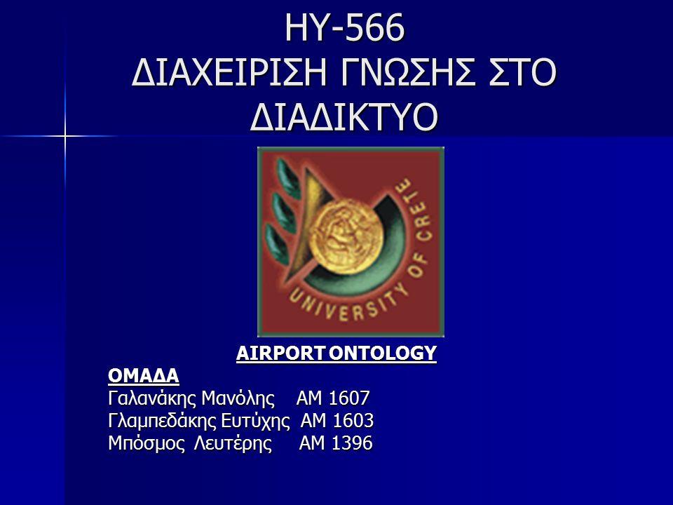 ΗΥ-566 ΔΙΑΧΕΙΡΙΣΗ ΓΝΩΣΗΣ ΣΤΟ ΔΙΑΔΙΚΤΥΟ AIRPORT ONTOLOGY ΟΜΑΔΑ Γαλανάκης Μανόλης ΑΜ 1607 Γλαμπεδάκης Ευτύχης ΑΜ 1603 Μπόσμος Λευτέρης ΑΜ 1396