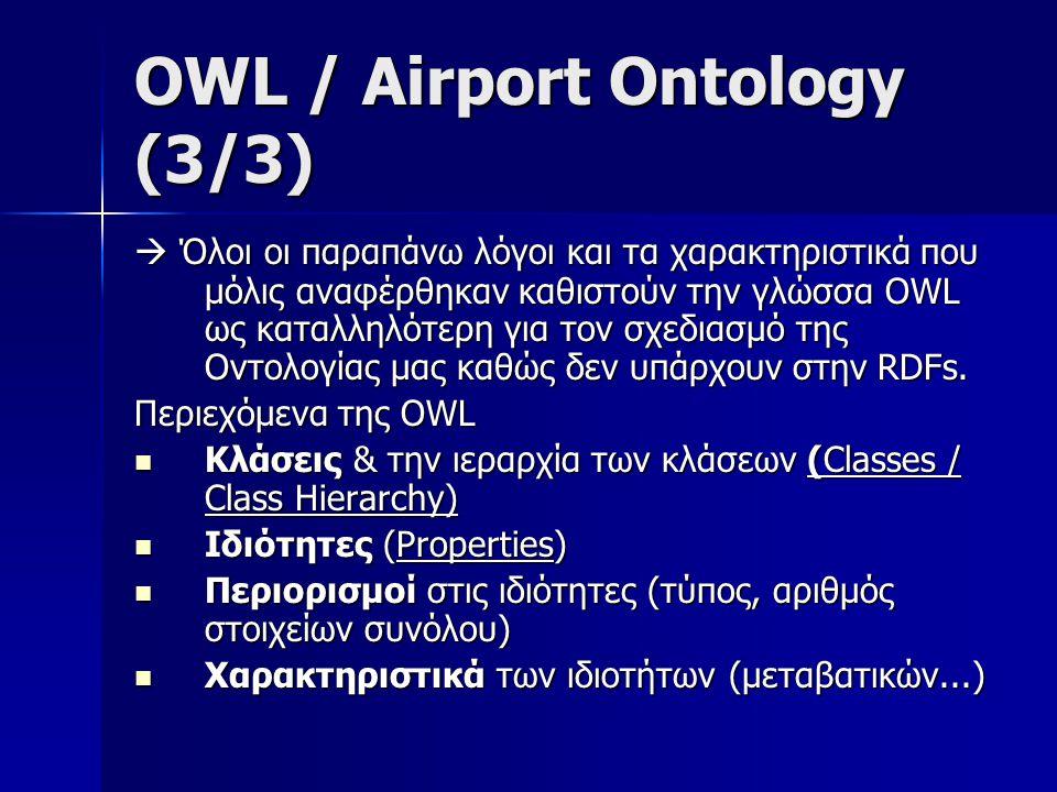 Περιεχόμενα Airport Ontology a) Classes / Class Hierarchy a) Classes / Class Hierarchy AirportAirport (elevation*, iataCode*, icaoCode*, latitude*, location*, longitude*, name*) elevationiataCodelatitudelocation longitudename AirportelevationiataCodelatitudelocation longitudename b) Properties b) Properties Elevation -iataCode -icaoCode -latitude- location -longitude -name Elevation -iataCode -icaoCode -latitude- location -longitude -name