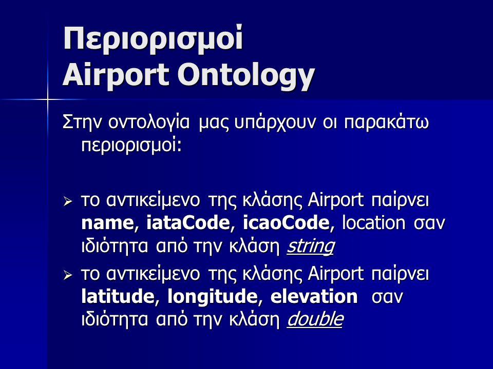 Περιορισμοί Airport Ontology Στην οντολογία μας υπάρχουν οι παρακάτω περιορισμοί:  το αντικείμενο της κλάσης Airport παίρνει name, iataCode, icaoCode, location σαν ιδιότητα από την κλάση string  το αντικείμενο της κλάσης Airport παίρνει latitude, longitude, elevation σαν ιδιότητα από την κλάση double