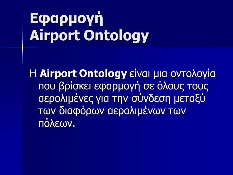 Εφαρμογή Airport Ontology Η Airport Ontology είναι μια οντολογία που βρίσκει εφαρμογή σε όλους τους αερολιμένες για την σύνδεση μεταξύ των διαφόρων αερολιμένων των πόλεων.