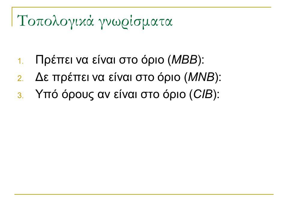 Τοπολογικά γνωρίσματα 1. Πρέπει να είναι στο όριο (MBB): 2. Δε πρέπει να είναι στο όριο (MNB): 3. Υπό όρους αν είναι στο όριο (CIB):