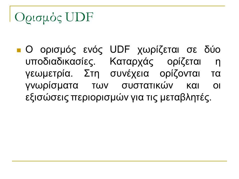 Ορισμός UDF Ο ορισμός ενός UDF χωρίζεται σε δύο υποδιαδικασίες. Καταρχάς ορίζεται η γεωμετρία. Στη συνέχεια ορίζονται τα γνωρίσματα των συστατικών και