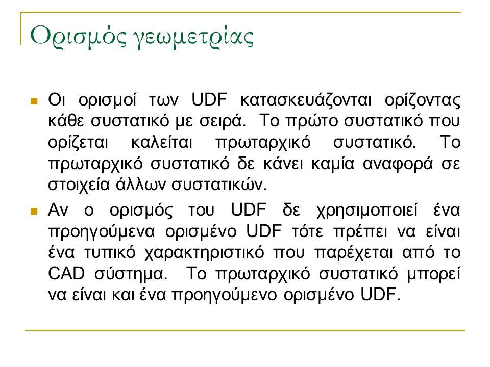 Ορισμός γεωμετρίας Οι ορισμοί των UDF κατασκευάζονται ορίζοντας κάθε συστατικό με σειρά. Το πρώτο συστατικό που ορίζεται καλείται πρωταρχικό συστατικό