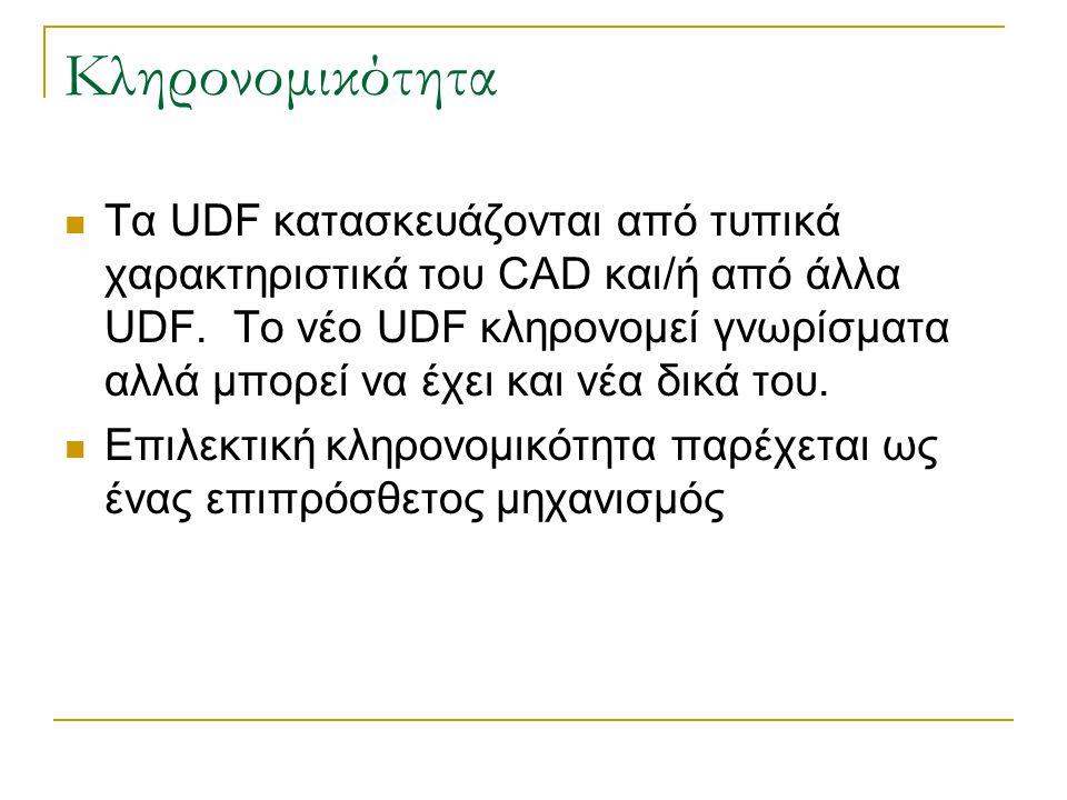 Κληρονομικότητα Τα UDF κατασκευάζονται από τυπικά χαρακτηριστικά του CAD και/ή από άλλα UDF. Το νέο UDF κληρονομεί γνωρίσματα αλλά μπορεί να έχει και
