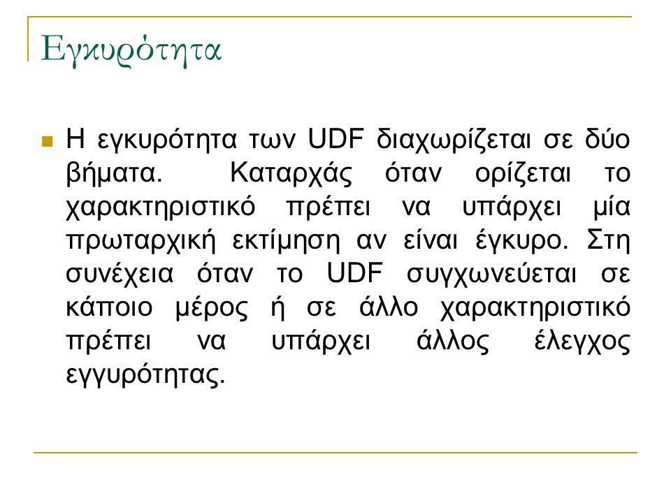 Εγκυρότητα Η εγκυρότητα των UDF διαχωρίζεται σε δύο βήματα. Καταρχάς όταν ορίζεται το χαρακτηριστικό πρέπει να υπάρχει μία πρωταρχική εκτίμηση αν είνα