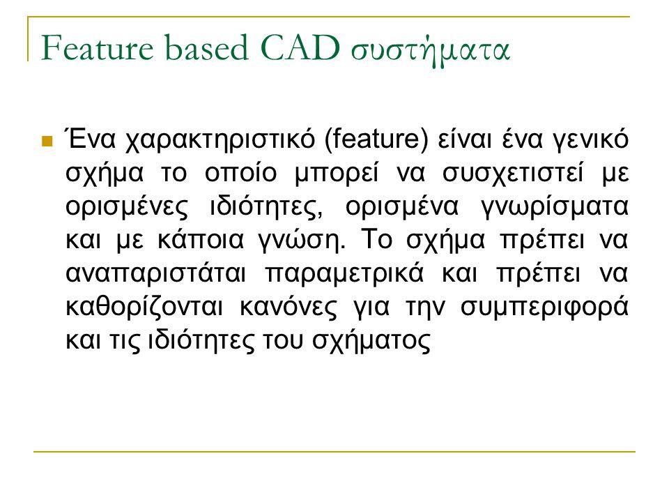Feature based CAD συστήματα Ένα χαρακτηριστικό (feature) είναι ένα γενικό σχήμα το οποίο μπορεί να συσχετιστεί με ορισμένες ιδιότητες, ορισμένα γνωρίσ