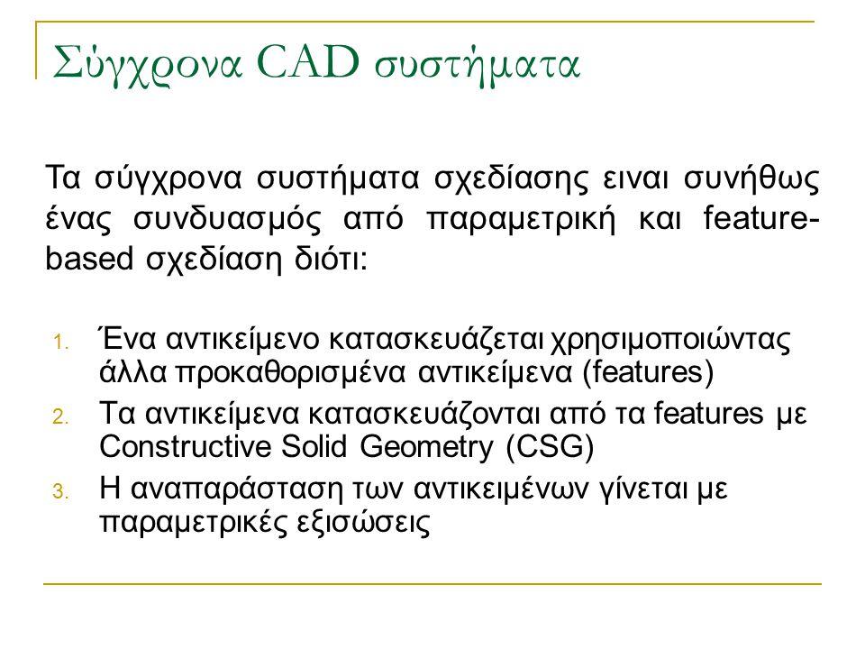 Σύγχρονα CAD συστήματα 1. Ένα αντικείμενο κατασκευάζεται χρησιμοποιώντας άλλα προκαθορισμένα αντικείμενα (features) 2. Τα αντικείμενα κατασκευάζονται