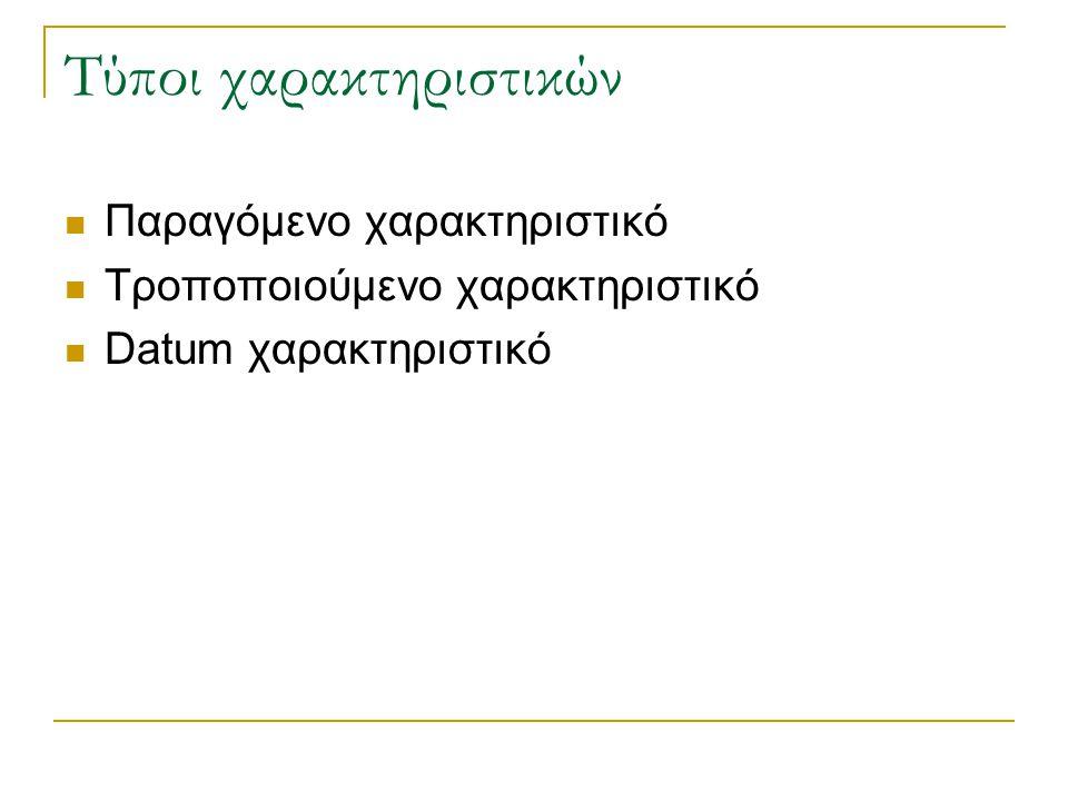 Τύποι χαρακτηριστικών Παραγόμενο χαρακτηριστικό Τροποποιούμενο χαρακτηριστικό Datum χαρακτηριστικό