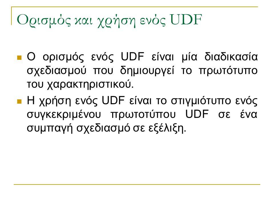 Ορισμός και χρήση ενός UDF Ο ορισμός ενός UDF είναι μία διαδικασία σχεδιασμού που δημιουργεί το πρωτότυπο του χαρακτηριστικού. Η χρήση ενός UDF είναι