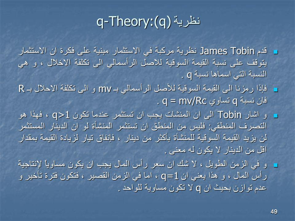 49 نظرية q-Theory:(q) قدم James Tobin نظرية مركبة في الاستثمار مبنية على فكرة ان الاستثمار يتوقف على نسبة القيمة السوقية للاصل الرأسمالي الى تكلفة الاخلال ، و هي النسبة التي اسماها نسبة q.