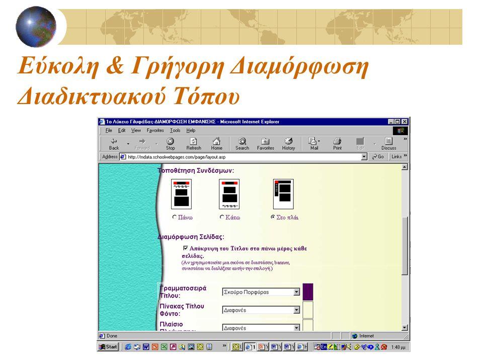 Εύκολη & Γρήγορη Διαμόρφωση Διαδικτυακού Τόπου