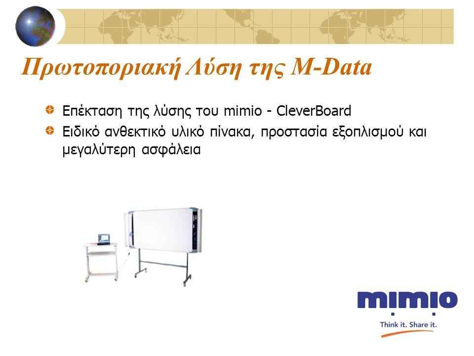 Πρωτοποριακή Λύση της M-Data Επέκταση της λύσης του mimio - CleverBoard Ειδικό ανθεκτικό υλικό πίνακα, προστασία εξοπλισμού και μεγαλύτερη ασφάλεια