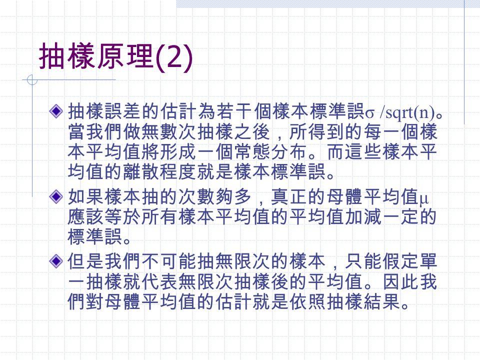 抽樣原理 (2) 抽樣誤差的估計為若干個樣本標準誤 σ /sqrt(n) 。 當我們做無數次抽樣之後,所得到的每一個樣 本平均值將形成一個常態分布。而這些樣本平 均值的離散程度就是樣本標準誤。 如果樣本抽的次數夠多,真正的母體平均值 μ 應該等於所有樣本平均值的平均值加減一定的 標準誤。 但是我們不