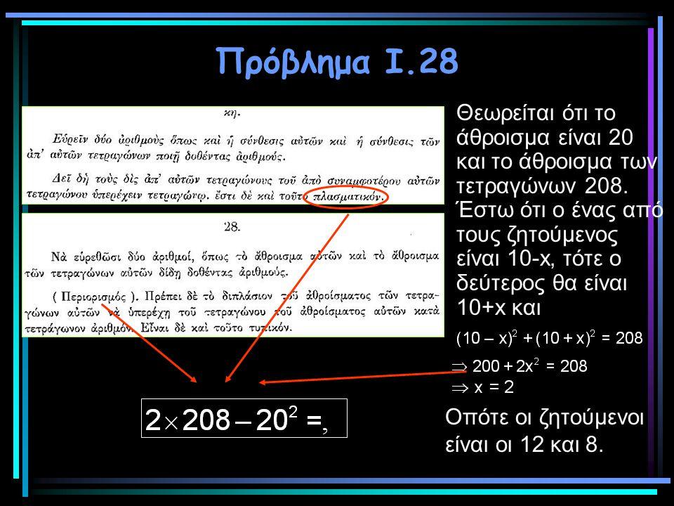 Πρόβλημα Ι.28 Θεωρείται ότι το άθροισμα είναι 20 και το άθροισμα των τετραγώνων 208. Έστω ότι ο ένας από τους ζητούμενος είναι 10-x, τότε ο δεύτερος θ