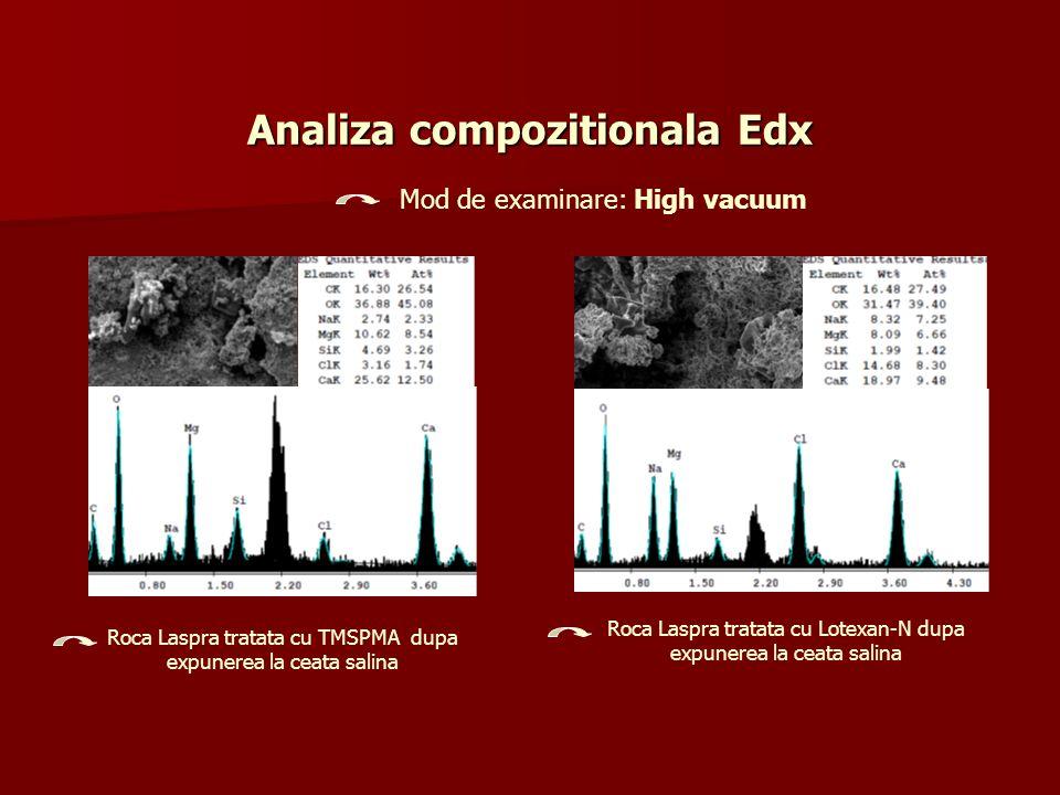 Analiza compozitionala Edx Roca Laspra tratata cu Lotexan-N dupa expunerea la ceata salina Roca Laspra tratata cu TMSPMA dupa expunerea la ceata salin
