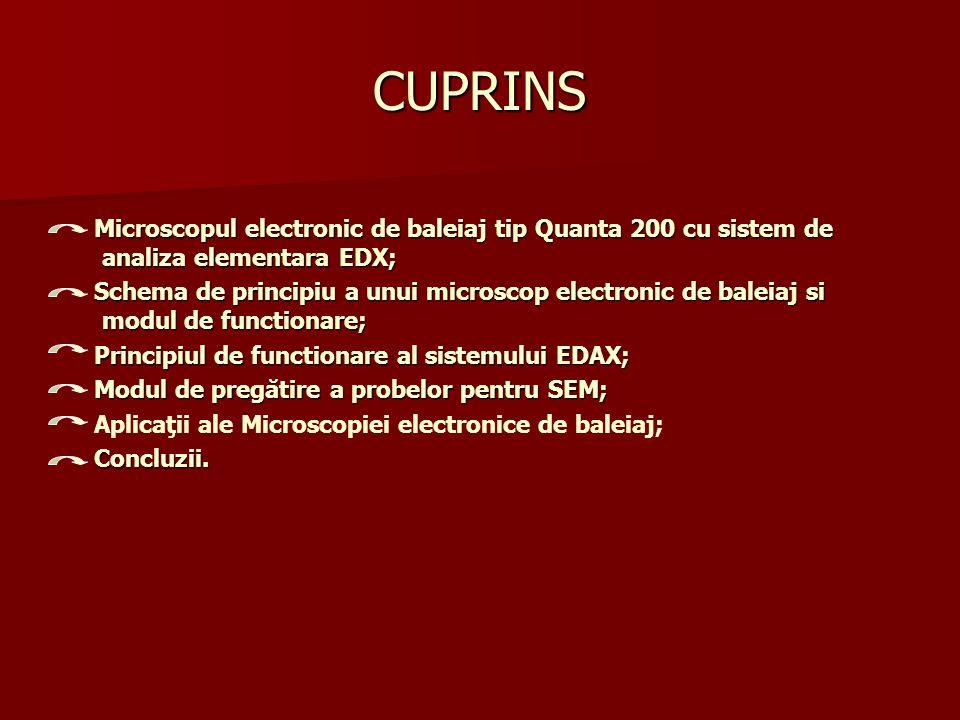 MICROSCOPUL ELECTRONIC DE BALEAJ (ESEM) TIP QUANTA 200 1 1 2 2 2 3 4 5 67 9 81 Tunul de electroni în partea superioară a coloanei aşa numită sursa de emisie de câmp; 2 Coloana cu lentile electromagnetice pentru direcţionarea şi focalizarea fasciculului de electroni din coloană; 3 Sistemul de realizare a vidului; 4 Camera pentru proba ce urmeaza a fi analizată; 5 Panoul de control cu accesoriile de focalizare, aliniere şi mărire ; 6 Unitate calculator cu ecran pentru meniu, prezentarea si examinarea imaginilor de microscopie; 7 Unitate calculator cu ecran pentru meniu, prezentarea spectrelor si analiza Edax; 8 Rezervor cu azot pentru racirea detectorului Edax; 9 Partea electronică a miscroscopului si unitatea pentru Edax.