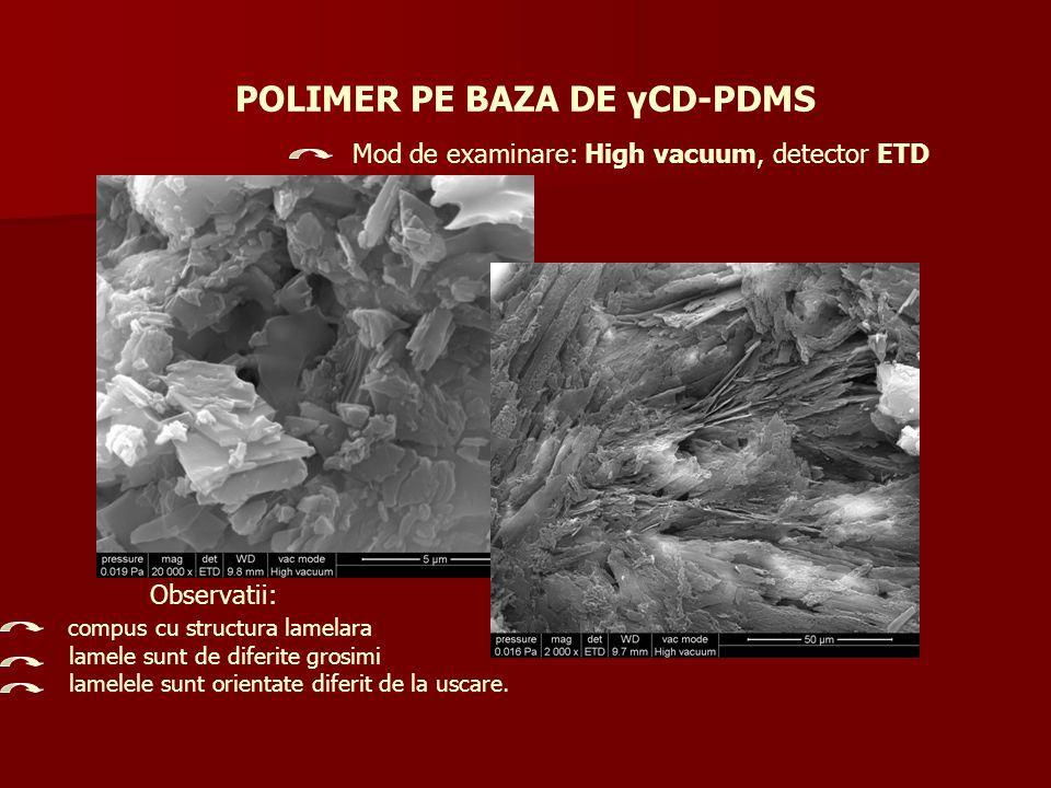 POLIMER PE BAZA DE γCD-PDMS Mod de examinare: High vacuum, detector ETD Observatii: compus cu structura lamelara lamele sunt de diferite grosimi lamel