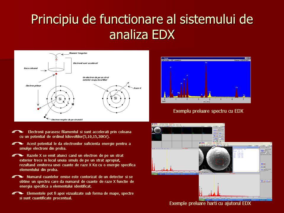 Modul de pregatire a probelor Probele pot fi sub forma de: filme filme pelicule pelicule pulberi pulberi fibre fibre tesaturi tesaturi Metalizarea probelor Metalizarea probelor Aparat de metalizare EMITECH K550X Modul de examinare: HiVacuum-probe conductoare (acoperite cu Au) HiVacuum-probe conductoare (acoperite cu Au) LowVacuum-probe neconductoare (neacoperite) LowVacuum-probe neconductoare (neacoperite) ESEM-probe cu un continut de apa ESEM-probe cu un continut de apa EDAX EDAX