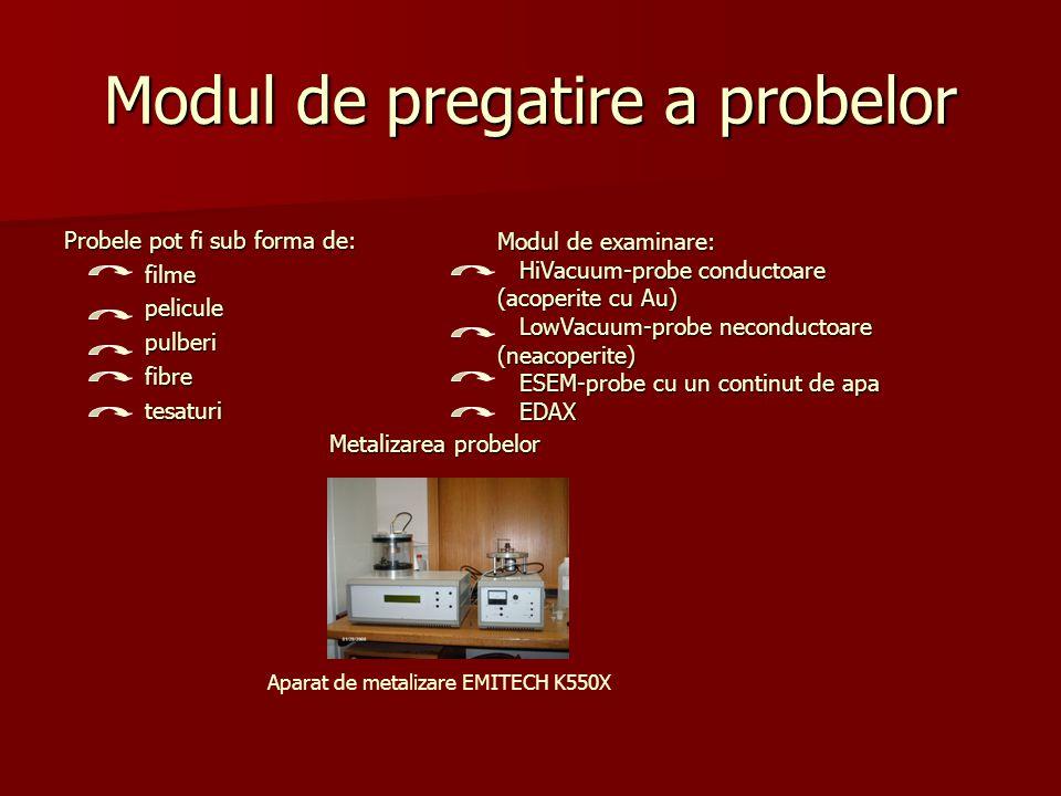 Modul de pregatire a probelor Probele pot fi sub forma de: filme filme pelicule pelicule pulberi pulberi fibre fibre tesaturi tesaturi Metalizarea pro