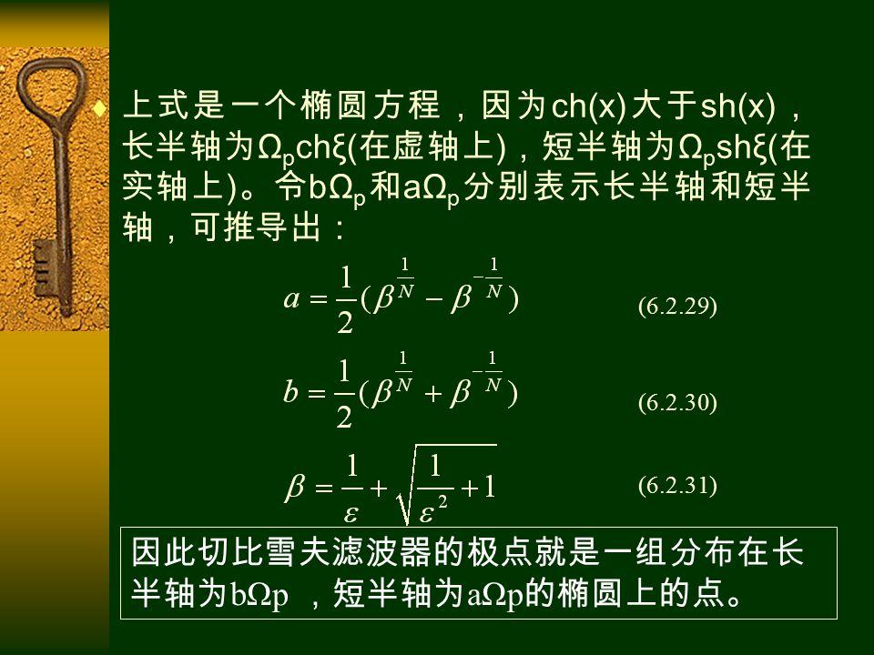  上式是一个椭圆方程,因为 ch(x) 大于 sh(x) , 长半轴为 Ω p chξ( 在虚轴上 ) ,短半轴为 Ω p shξ( 在 实轴上 ) 。令 bΩ p 和 aΩ p 分别表示长半轴和短半 轴,可推导出: (6.2.29) (6.2.30) (6.2.31) 因此切比雪夫滤波器的极点就是一组分布在长 半轴为 bΩp ,短半轴为 aΩp 的椭圆上的点。