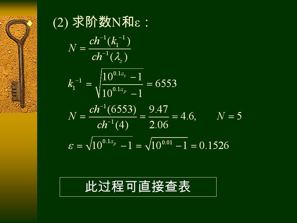  (2) 求阶数 N 和 ε : 此过程可直接查表