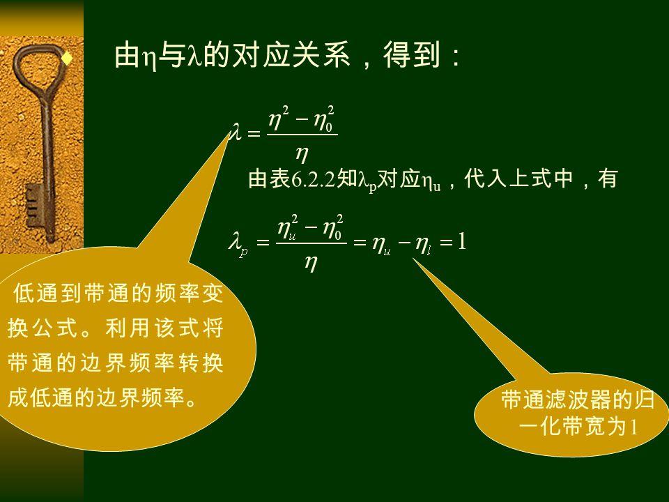  由 η 与 λ 的对应关系,得到: 由表 6.2.2 知 λ p 对应 η u ,代入上式中,有 带通滤波器的归 一化带宽为 1 低通到带通的频率变 换公式。利用该式将 带通的边界频率转换 成低通的边界频率。