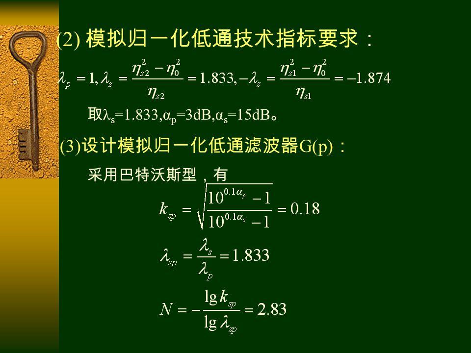 (2) 模拟归一化低通技术指标要求: 取 λ s =1.833,α p =3dB,α s =15dB 。 (3) 设计模拟归一化低通滤波器 G(p) : 采用巴特沃斯型,有