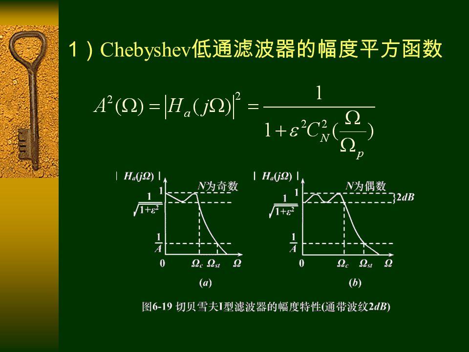 1 ) Chebyshev 低通滤波器的幅度平方函数