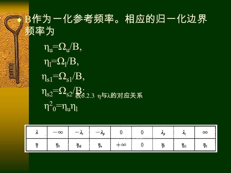  B 作为一化参考频率。相应的归一化边界 频率为 η u =Ω u /B, η l =Ω l /B, η s1 =Ω s1 /B, η s2 =Ω s2 /B; η 2 0 =η u η l 表 6.2.3 η 与 λ 的对应关系