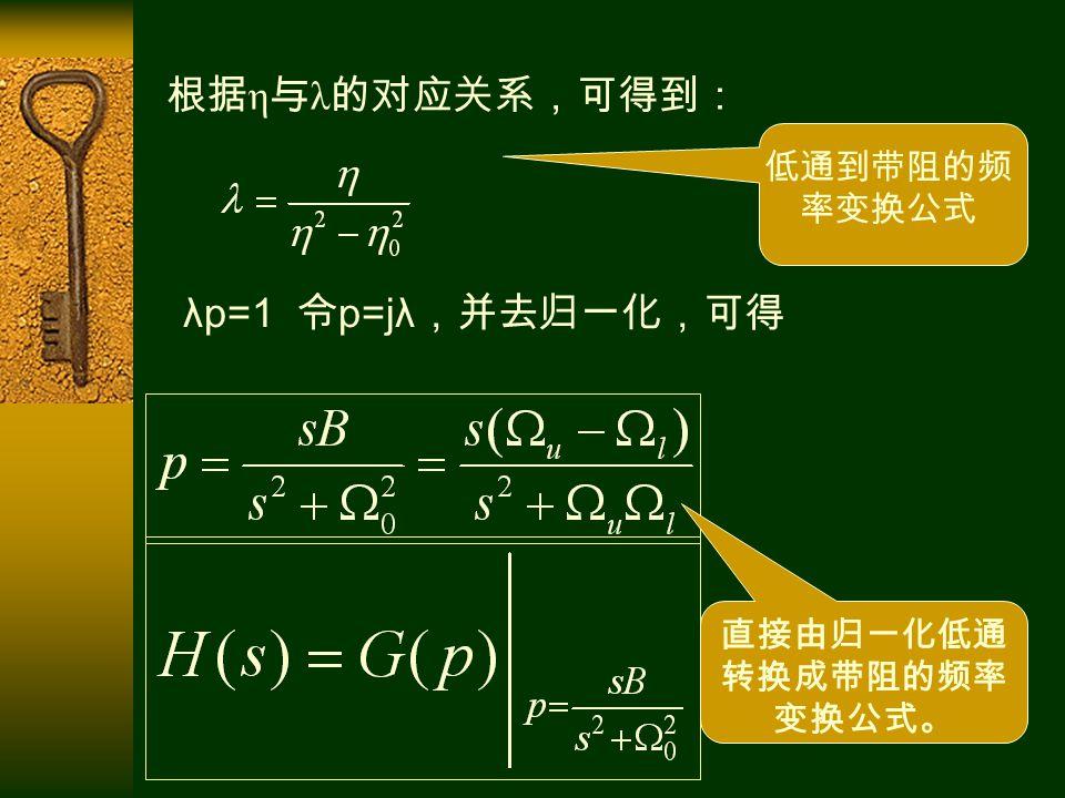 低通到带阻的频 率变换公式 直接由归一化低通 转换成带阻的频率 变换公式。 根据 η 与 λ 的对应关系,可得到: λp=1 令 p=jλ ,并去归一化,可得