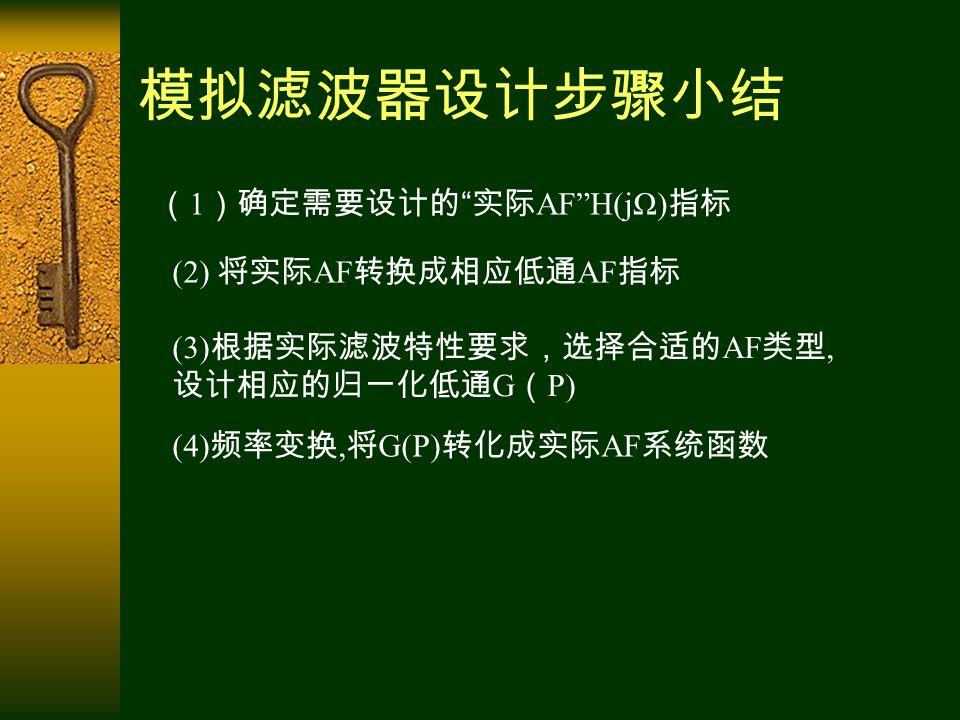模拟滤波器设计步骤小结 ( 1 )确定需要设计的 实际 AF H(jΩ) 指标 (2) 将实际 AF 转换成相应低通 AF 指标 (3) 根据实际滤波特性要求,选择合适的 AF 类型, 设计相应的归一化低通 G ( P) (4) 频率变换, 将 G(P) 转化成实际 AF 系统函数