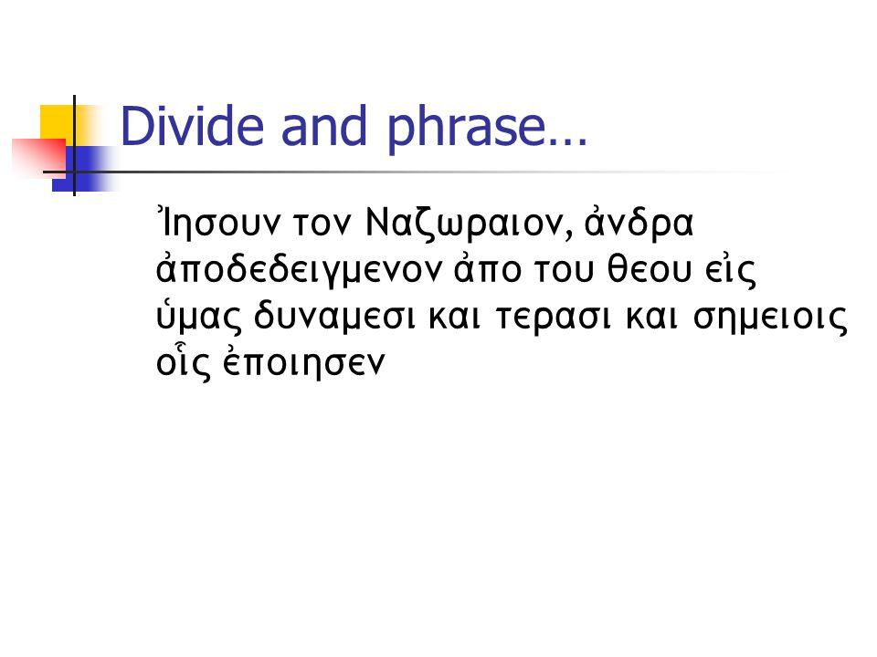Divide and phrase… )Ihsoun ton Nazwraion, ajndra ajpodedeigmenon ajpo tou qeou eijV uJmaV dunamesi kai terasi kai shmeioiV oi|V ejpoihsen