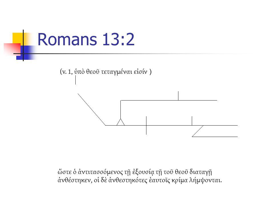 Romans 13:2 ὥστε ὁ ἀντιτασσόμενος τῇ ἐξουσίᾳ τῇ τοῦ θεοῦ διαταγῇ ἀνθέστηκεν, οἱ δὲ ἀνθεστηκότες ἑαυτοῖς κρίμα λήμψονται.