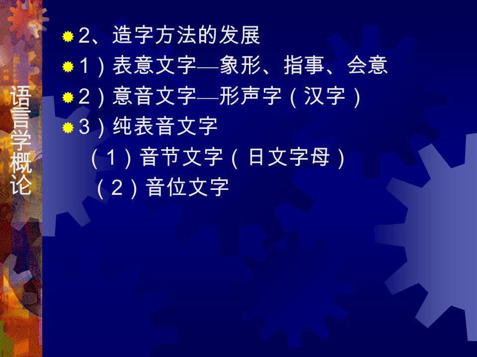  2 、造字方法的发展  1 )表意文字 — 象形、指事、会意  2 )意音文字 — 形声字(汉字)  3 )纯表音文字 ( 1 )音节文字(日文字母) ( 2 )音位文字