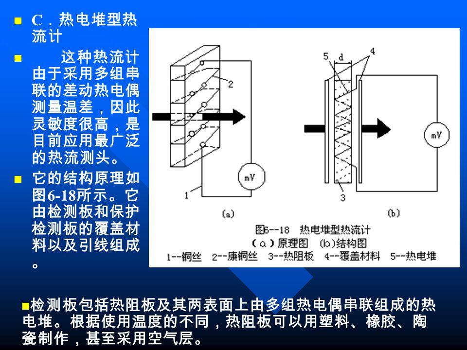 C .热电堆型热 流计 这种热流计 由于采用多组串 联的差动热电偶 测量温差,因此 灵敏度很高,是 目前应用最广泛 的热流测头。 它的结构原理如 图 6-18 所示。它 由检测板和保护 检测板的覆盖材 料以及引线组成 。 检测板包括热阻板及其两表面上由多组热电偶串联组成的热 电堆。根据使用温度的不同,热阻板可以用塑料、橡胶、陶 瓷制作,甚至采用空气层。