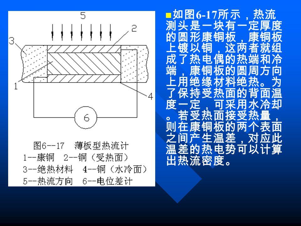 如图 6-17 所示,热流 测头是一块有一定厚度 的圆形康铜板,康铜板 上镀以铜,这两者就组 成了热电偶的热端和冷 端,康铜板的圆周方向 上用绝缘材料绝热。为 了保持受热面的背面温 度一定,可采用水冷却 。若受热面接受热量, 则在康铜板的两个表面 之间产生温差,对应此 温差的热电势可以计算 出热流密