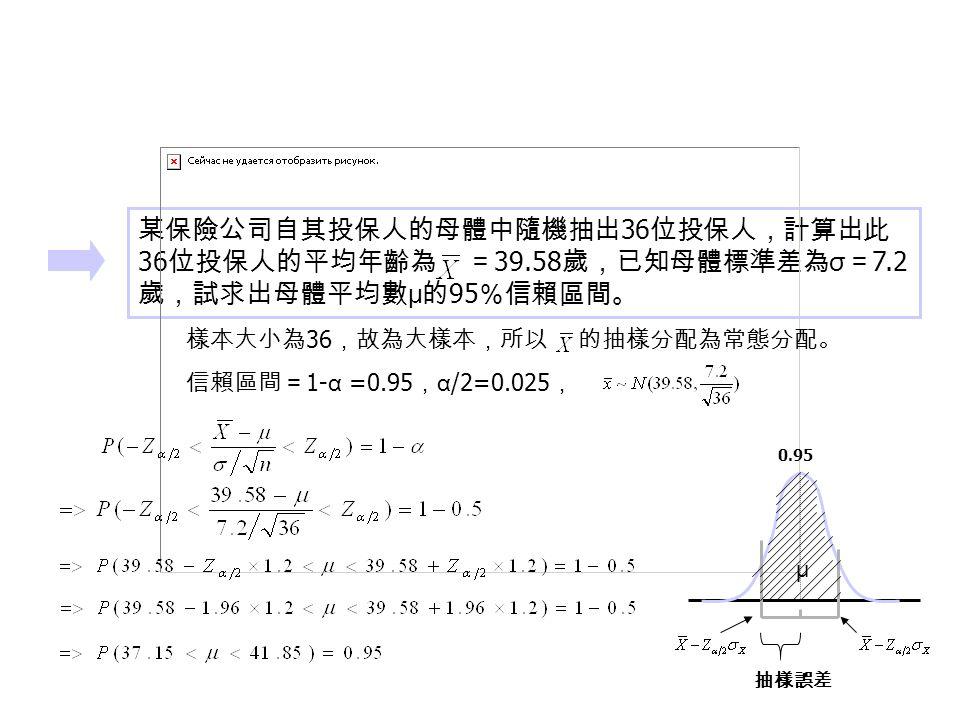 某保險公司自其投保人的母體中隨機抽出 36 位投保人,計算出此 36 位投保人的平均年齡為 = 39.58 歲,已知母體標準差為 σ = 7.2 歲,試求出母體平均數 μ 的 95 %信賴區間。 樣本大小為 36 ,故為大樣本,所以 的抽樣分配為常態分配。 信賴區間= 1- α =0.95 , α