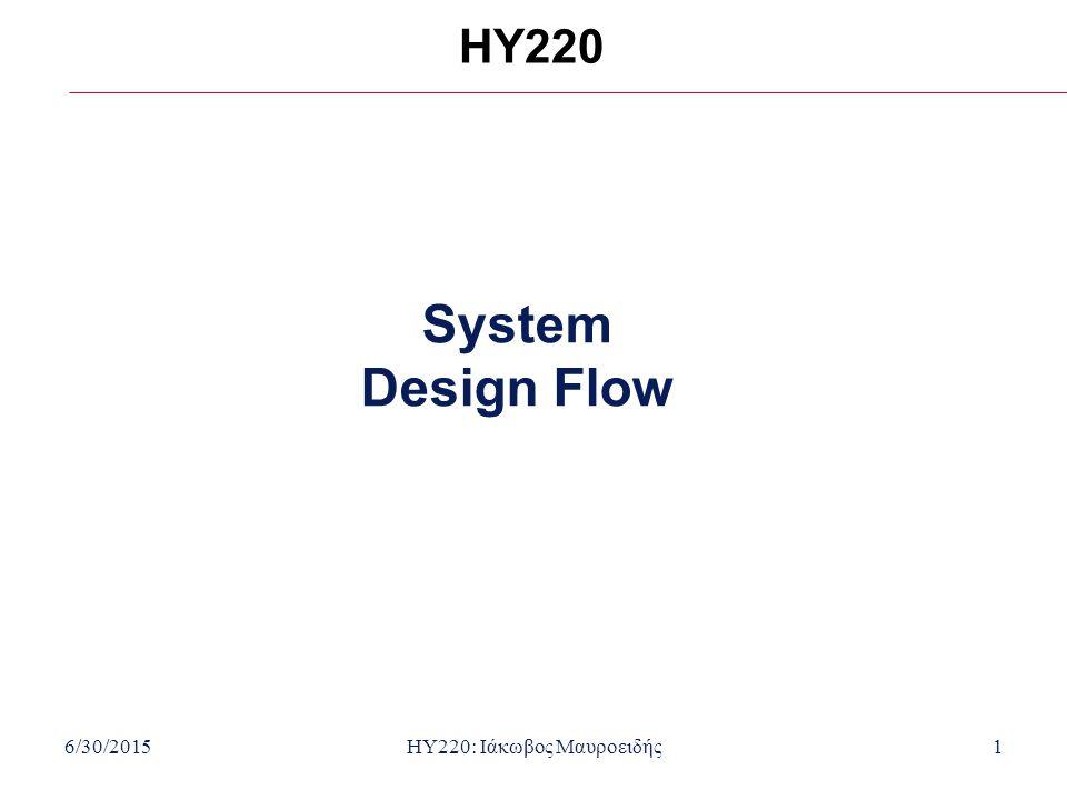 6/30/2015HY220: Ιάκωβος Μαυροειδής1 HY220 System Design Flow