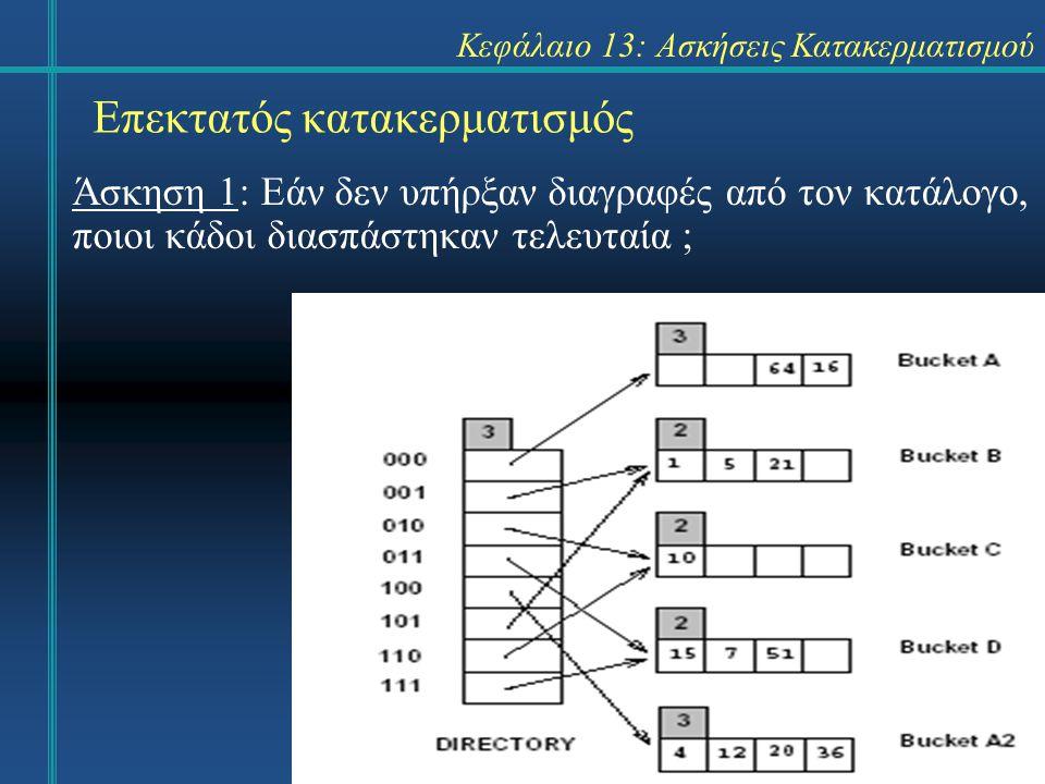 Κεφάλαιο 13: Ασκήσεις Κατακερματισμού Γραμμικός κατακερματισμός Απάντηση 11: Η διαγραφή του 63.
