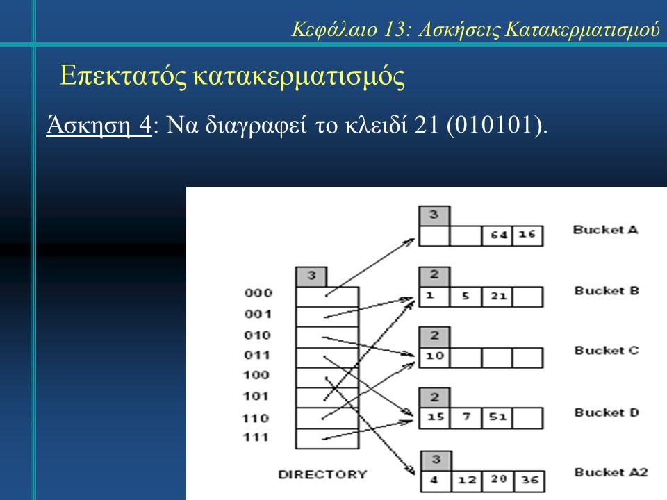Κεφάλαιο 13: Ασκήσεις Κατακερματισμού Επεκτατός κατακερματισμός Απάντηση 9 8 =(001000)2 16=(010000)2 24=(011000)2 32=(100000)2 40=(101000)2 48=(110000)2