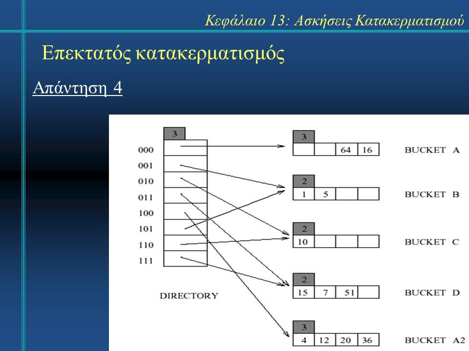 Κεφάλαιο 13: Ασκήσεις Κατακερματισμού Γραμμικός κατακερματισμός Άσκηση 10: Δημιουργήστε για τα κλειδιά 8, 16, 24, 32, 40, 48, 56, 64, 128, 7, 15, 31, 63, 127, 1, 10, 4 τον κατάλογο με γραμμικό κατακερματισμό.