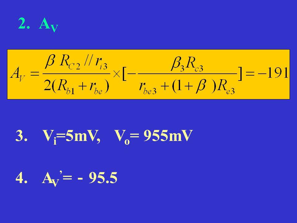 2. A V 3. V i =5mV, V o = 955mV 4. A V ' = - 95.5