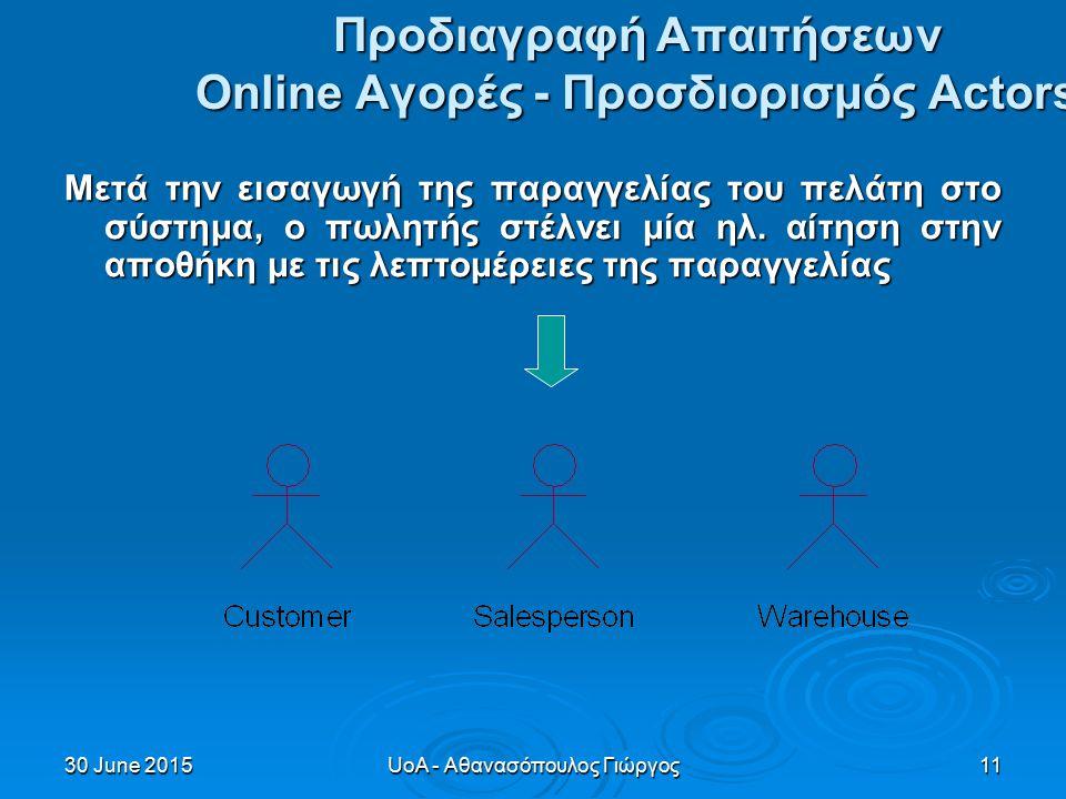30 June 201530 June 201530 June 2015UoA - Αθανασόπουλος Γιώργος11 Προδιαγραφή Απαιτήσεων Online Αγορές - Προσδιορισμός Actors Μετά την εισαγωγή της παραγγελίας του πελάτη στο σύστημα, ο πωλητής στέλνει μία ηλ.