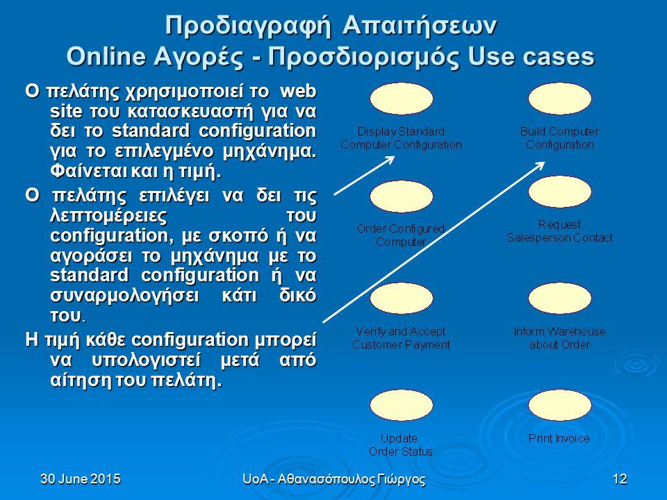 30 June 201530 June 201530 June 2015UoA - Αθανασόπουλος Γιώργος12 Προδιαγραφή Απαιτήσεων Online Αγορές - Προσδιορισμός Use cases Ο πελάτης χρησιμοποιεί το web site του κατασκευαστή για να δει το standard configuration για το επιλεγμένο μηχάνημα.