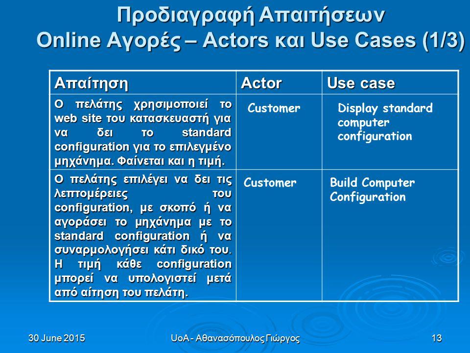 30 June 201530 June 201530 June 2015UoA - Αθανασόπουλος Γιώργος13 Προδιαγραφή Απαιτήσεων Online Αγορές – Actors και Use Cases (1/3) ΑπαίτησηActor Use case Ο πελάτης χρησιμοποιεί το web site του κατασκευαστή για να δει το standard configuration για το επιλεγμένο μηχάνημα.
